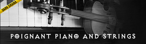 Poignant Piano and Strings Dark Drama collection by ALIBI. Music for film, television, crime shows, news, documentaries, podcasts, youtube, video games